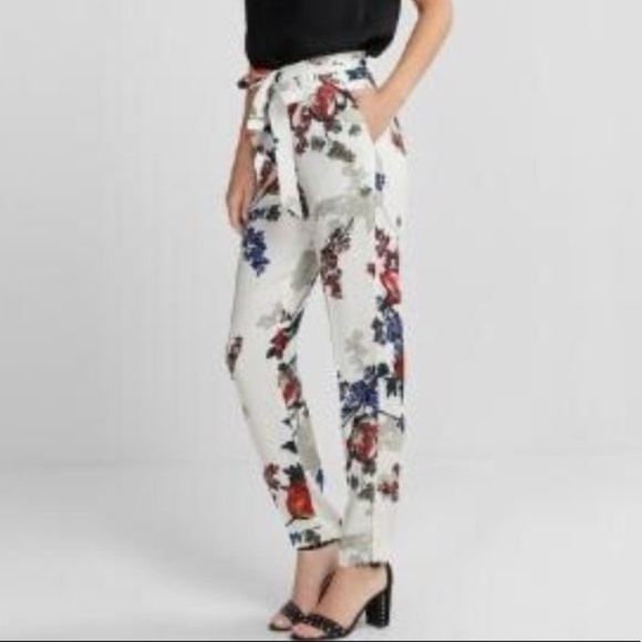 a38781c716b6 Express Pants - Express High Waisted Floral Tie Waist Ankle Pant